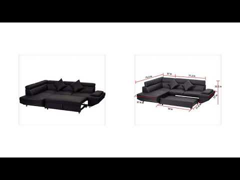 Corner Sofa Bed, 2 Piece Modern Contemporary Faux Leather ...