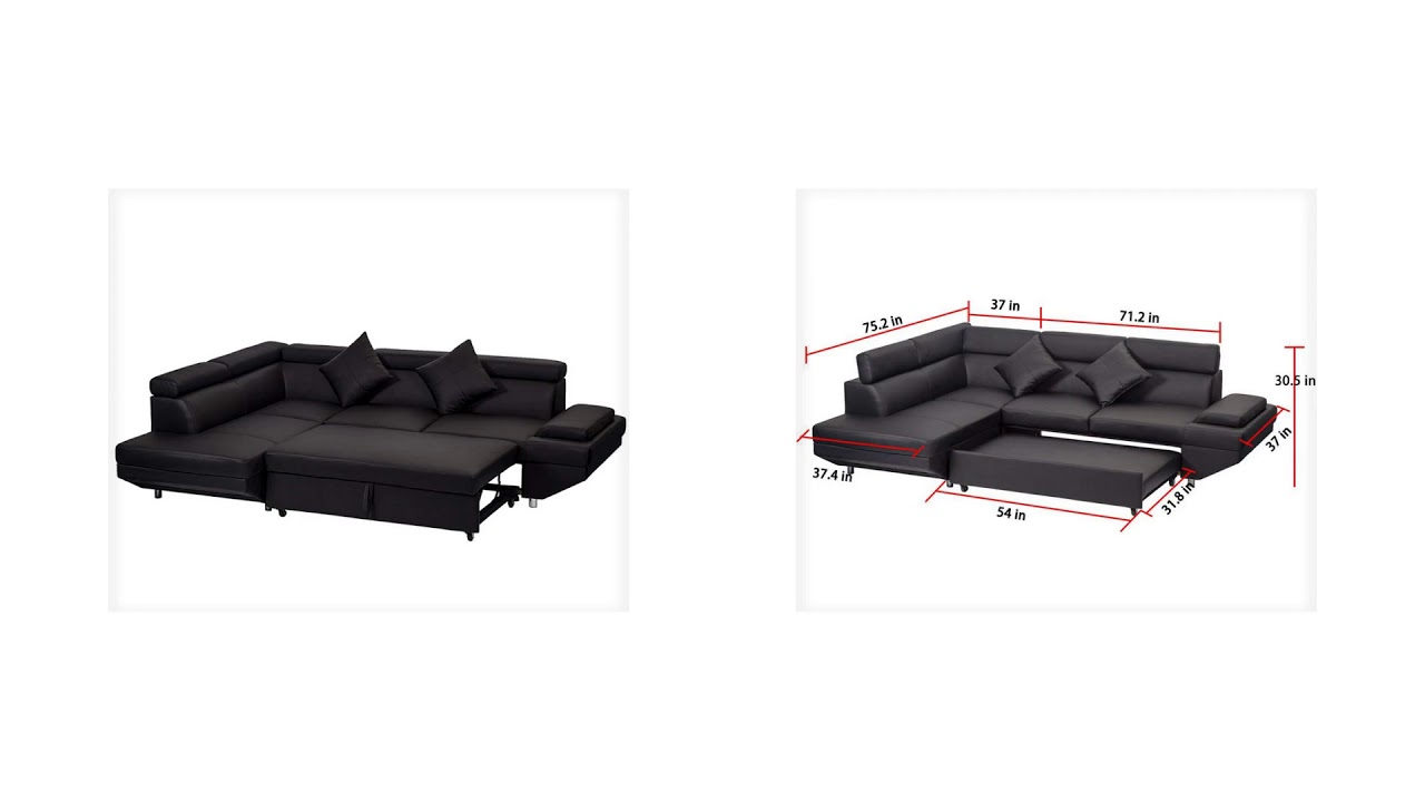Corner Sofa Bed, 2 Piece Modern Contemporary Faux Leather, Sectional Sofa,  Black