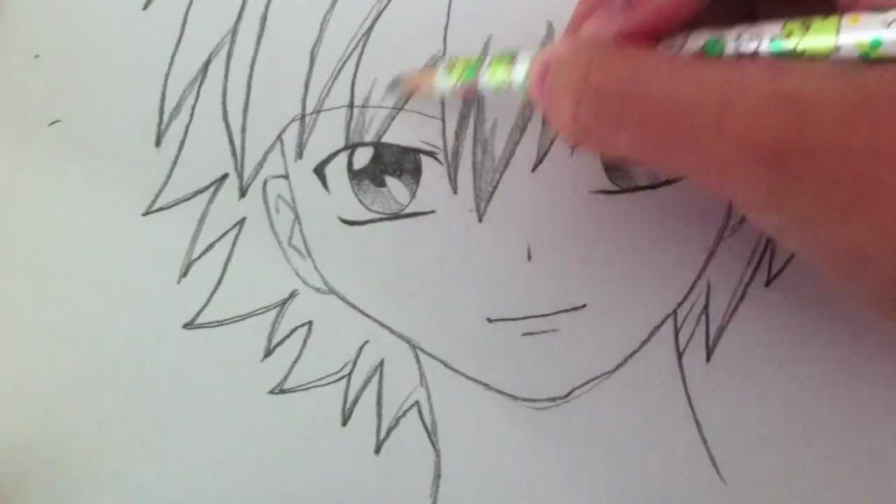 It is a photo of Bright Manga Boy Drawing
