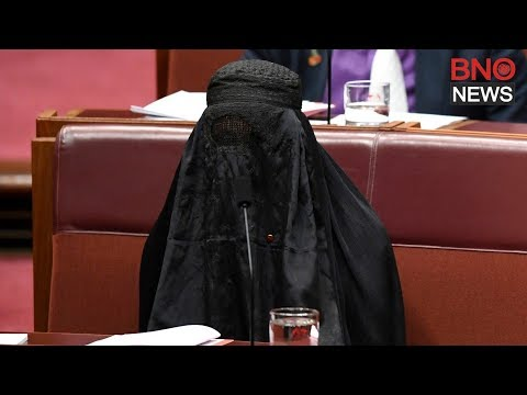 Australian Far-right Leader Pauline Hanson Wears Burqa in Parliament