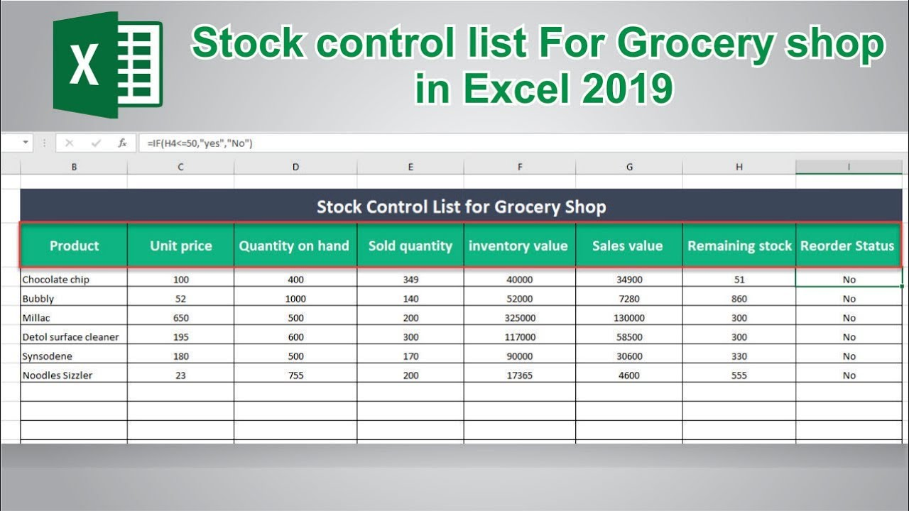 How To Create Stock Control List In Ms Excel 2019 Youtube