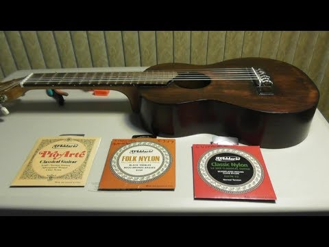 How to restring change Nylon Guitar Strings on GUITALELE Classical Review D'Addario EJ45 Pro Arte
