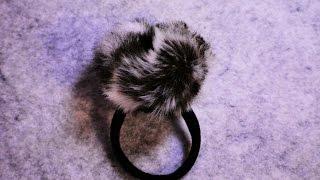 Резинка для волос с помпоном из меха своими руками