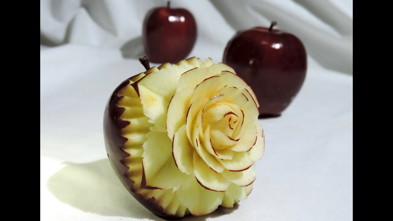 How to make a flower in apple by j pereira art carving