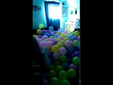 Balloon prank on little sister