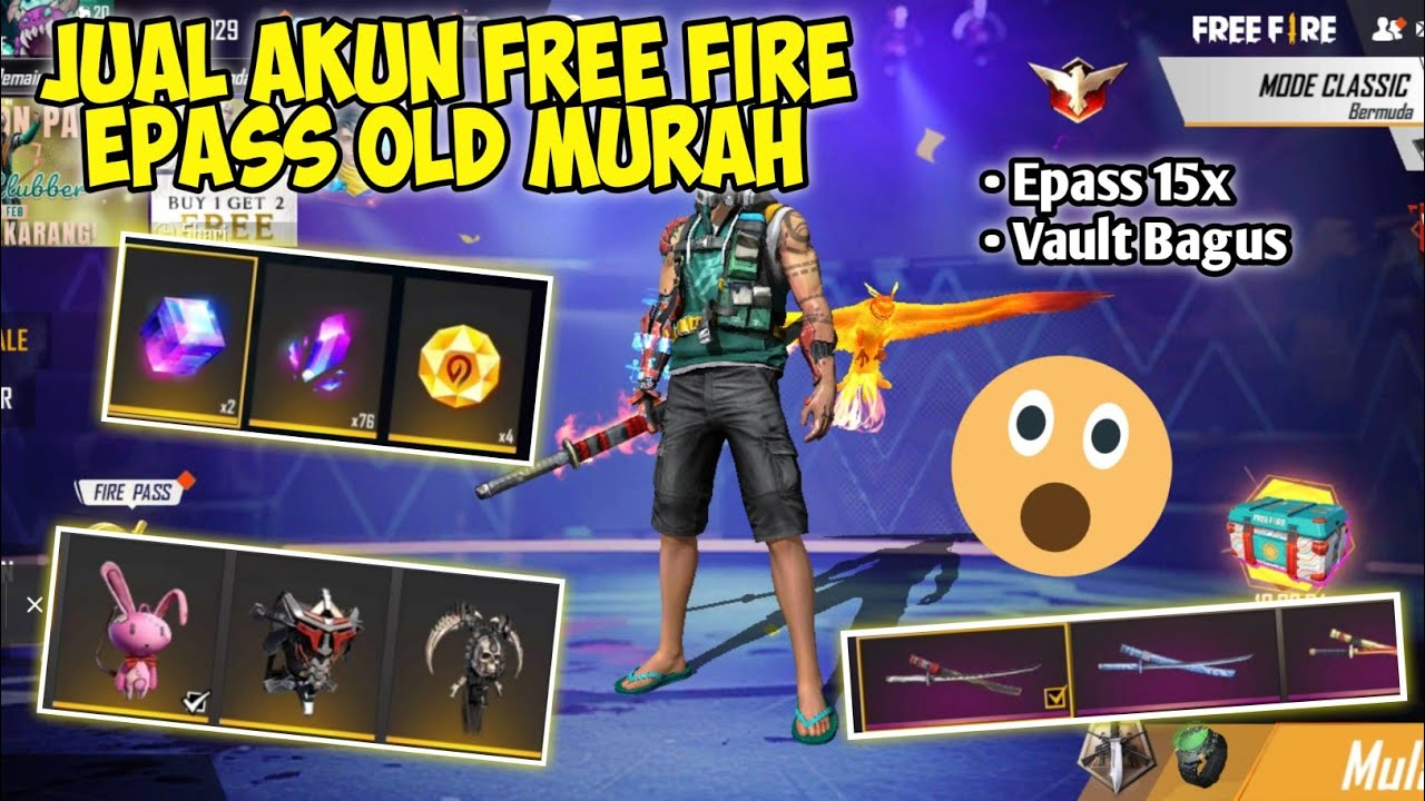 JUAL AKUN FREE FIRE SULTAN EPASS OLD MURAH HARGA PELAJAR | Free Fire Battleground