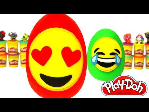 2 Huevos Sorpresas Gigantes de Emoji en Español de Plastilina Play Doh