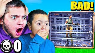 REACTING TO MY LITTLE BROTHERS *FIRST* GAME OF FORTNITE! *NOOB* FORTNITE FUNNY MOMENTS!!!