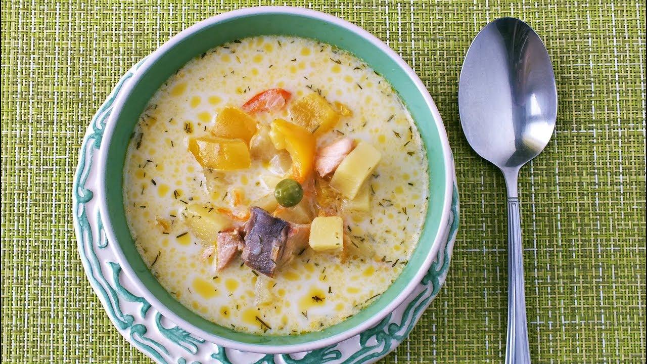 Рыбный суп с молоком и овощами
