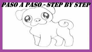 Como dibujar un Perro Doguillo l How to draw a Pug Dog l Dibujos Fáciles l Easy Drawings