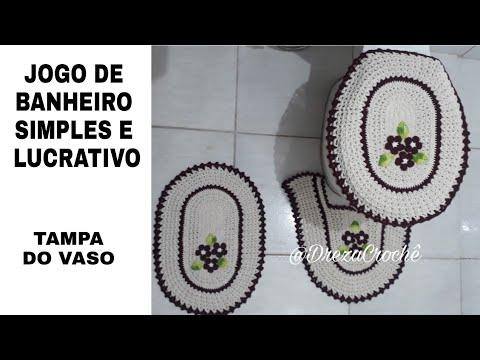 JOGO DE BANHEIRO DE CROCHÊ  SIMPLES E LUCRATIVO - PARTE 2 (TAMPA DO VASO)