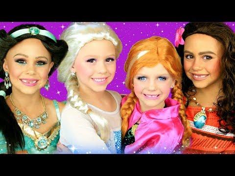 Disney Princess Makeup and Costumes Compilation! Elsa and Anna, Moana, and Jasmine