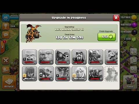 clash of clan max level troops ! max level 4 lava hound upgraded ! max lvl lava hound attack