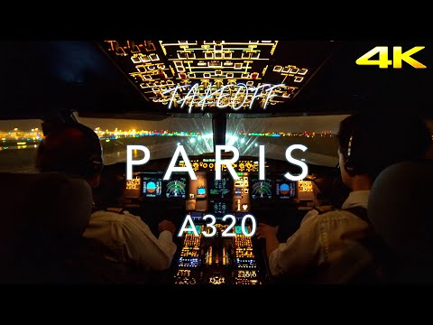 TakeOff Paris CDG  Cockpit View 4K