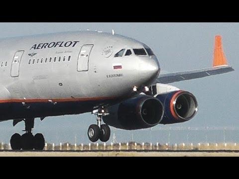 Aeroflot Ilyushin IL-96-300 Windy Landing at LCLK - Close Plane Spotting - Bouncy