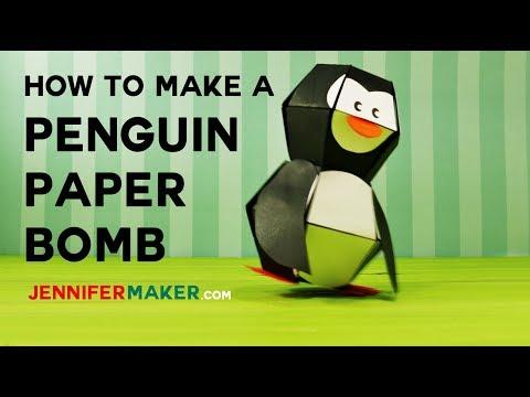Penguin Paper Bomb - Pop-Up Toy Tutorial & Pattern - Kamikara - ペンギン爆弾)