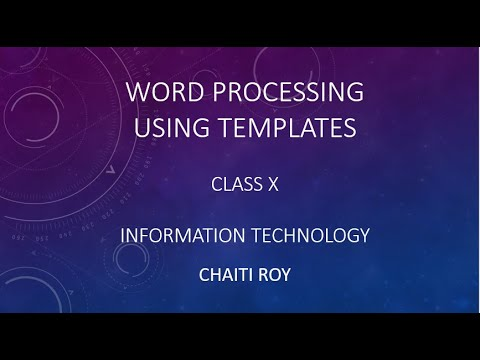 Using Templates In Word Processing