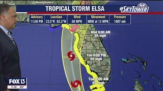 Tropical Storm Elsa Monday night forecast