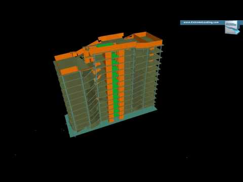 INACHUS - Structural analysis of an Office Tower, Devastating earthquake, Case 1