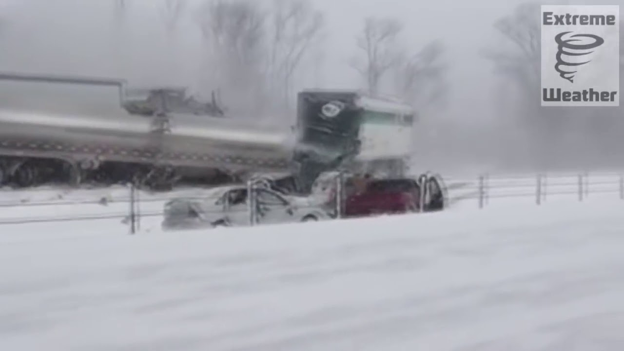193 Car Pile Up I 94 Michigan Snowstorm Jan 2015 RAW VIDEO
