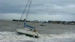 Yachts blown ashore in Skerries Storms