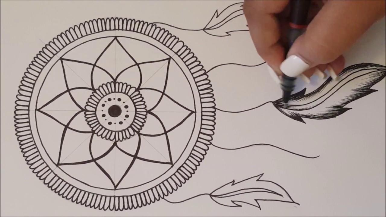HOW TO DRAW mandala DreamCatcher / Speed Draw - YouTube