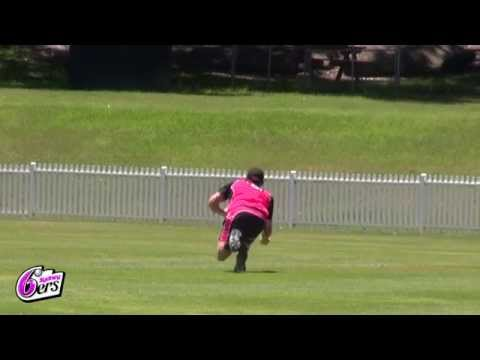 Stephen O'Keefe diving catch at training