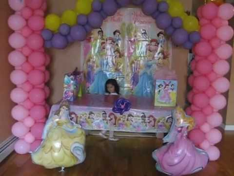Decoracion con globos de princesas - YouTube