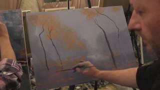 Осень, туман Видео урок живописи маслом Игорь Сахаров