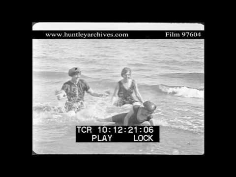 Women bathing in the sea, 1910's.  Archive film 97604