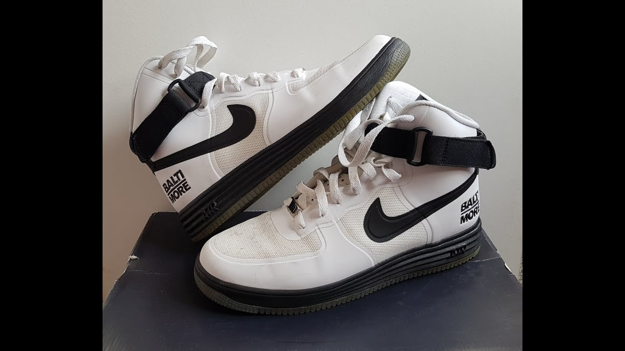 new arrivals 94045 63e2a Unboxing Unpacking NIKE LUNAR FORCE 1 HYP HI CITY QS WHITE   BLACK code  617899 100