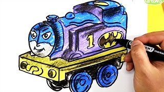 How to draw Thomas as Batman / minis thomas and friends / super friends