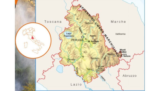 Cartina Dell Umbria Fisica.L Umbria Posizione Confini Morfologia E Clima Youtube