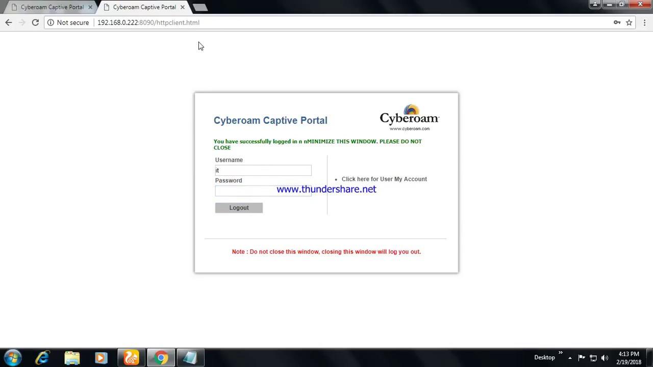 Cyberoam Captive Portal Login