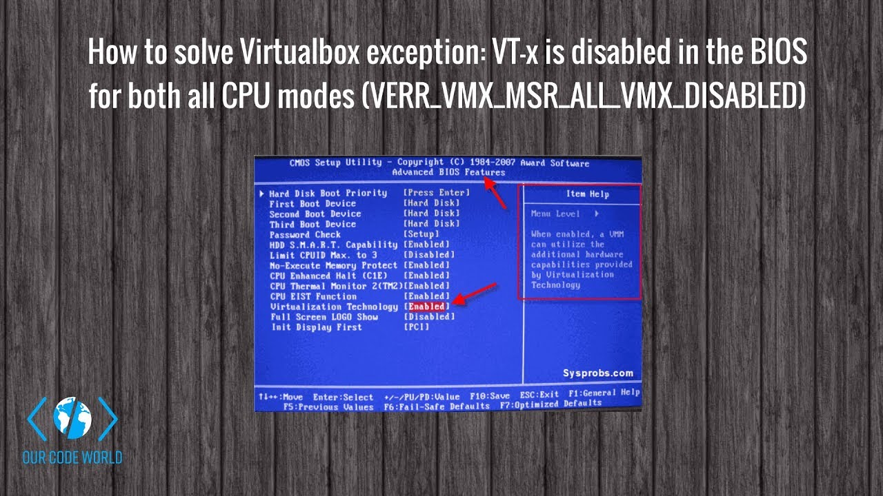 How to solve Virtualbox exception: VT-x is disabled in the