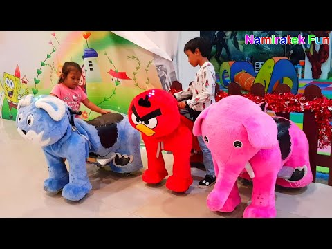 play a toy kid ride robot odong odong many cute animals with friends in mall part 2