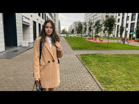 Victoria Goes to 7th Grade of School. St Petersburg, Russia. Live