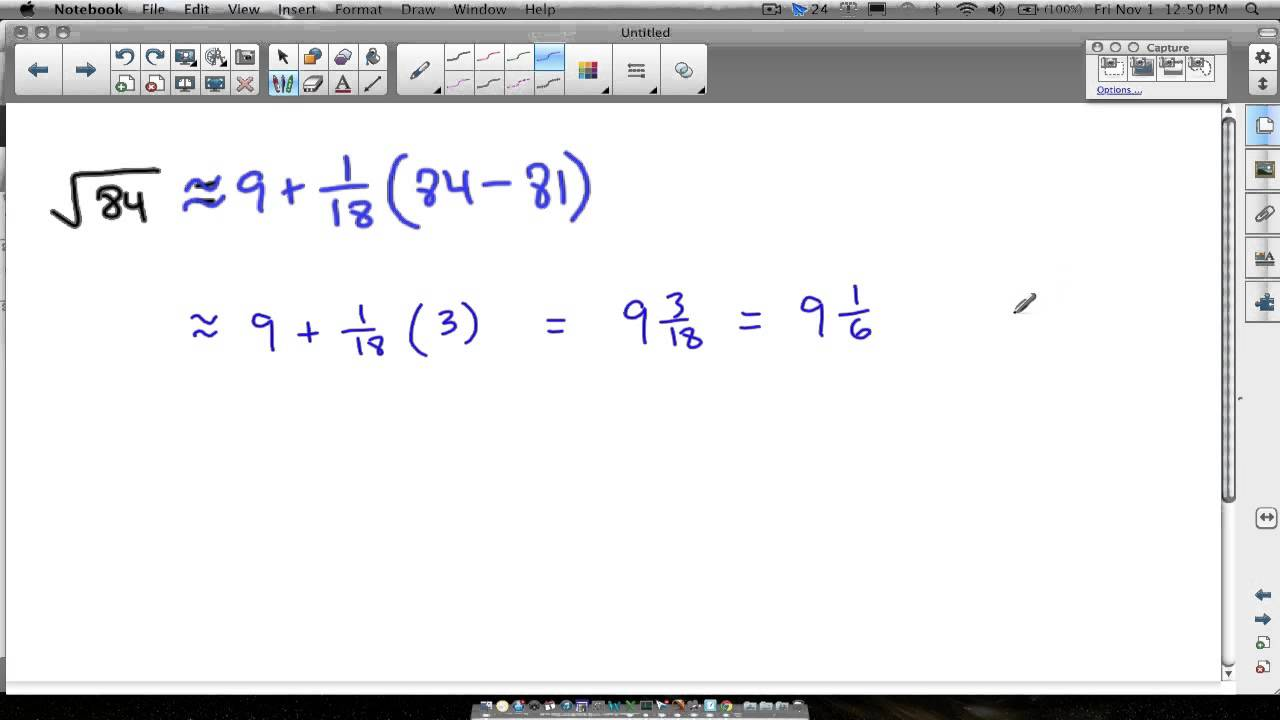 Linear Approximation Square Root Example Youtube