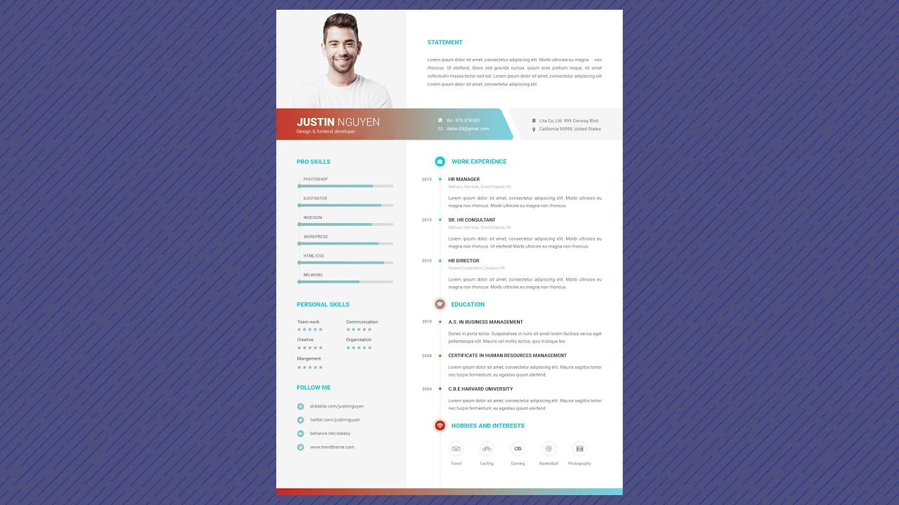 free professional resume template colorful life youtube