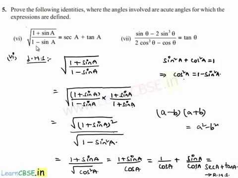 Basic trigonometric identities application to prove problems on ...