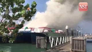 Langkawi passenger ferry catches fire at Kuah jetty