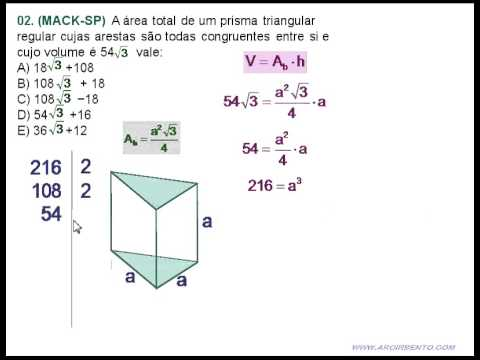 07 Prisma Exerccio 02 MACK Prisma de base Triangular  YouTube