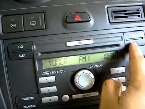 Ввод кода, настройка времени магнитола Ford CD6000