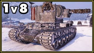 КV-2 (R) - 12 Kills - 1 vs 8 - World of Tanks Gameplay