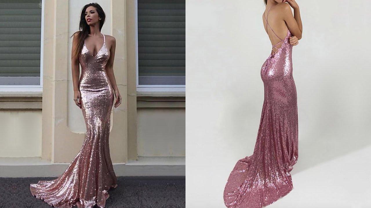 Long Prom Dresses, Elegant Gold Prom Gown, Mermaid V-neck Sequin ...