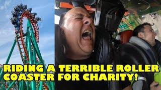 Riding a Terrible Roller Coaster For Charity! El Condor at Walibi Holland! 4K Front Seat POV