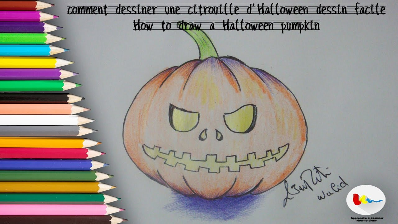 comment dessiner une citrouille d 39 halloween dessin facile youtube. Black Bedroom Furniture Sets. Home Design Ideas
