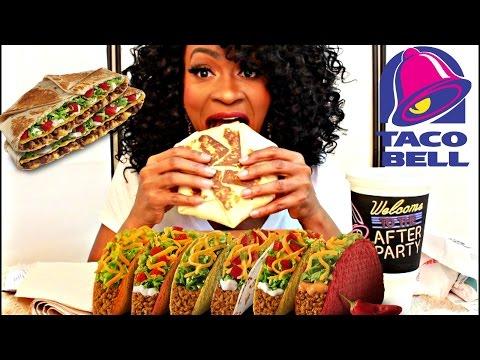 MUKBANG: NEW TACO BELL SPICY TRIPLE DOUBLE CRUNCHWRAP $5 BIG BOX! EATING SHOW! YUMMYBITESTV