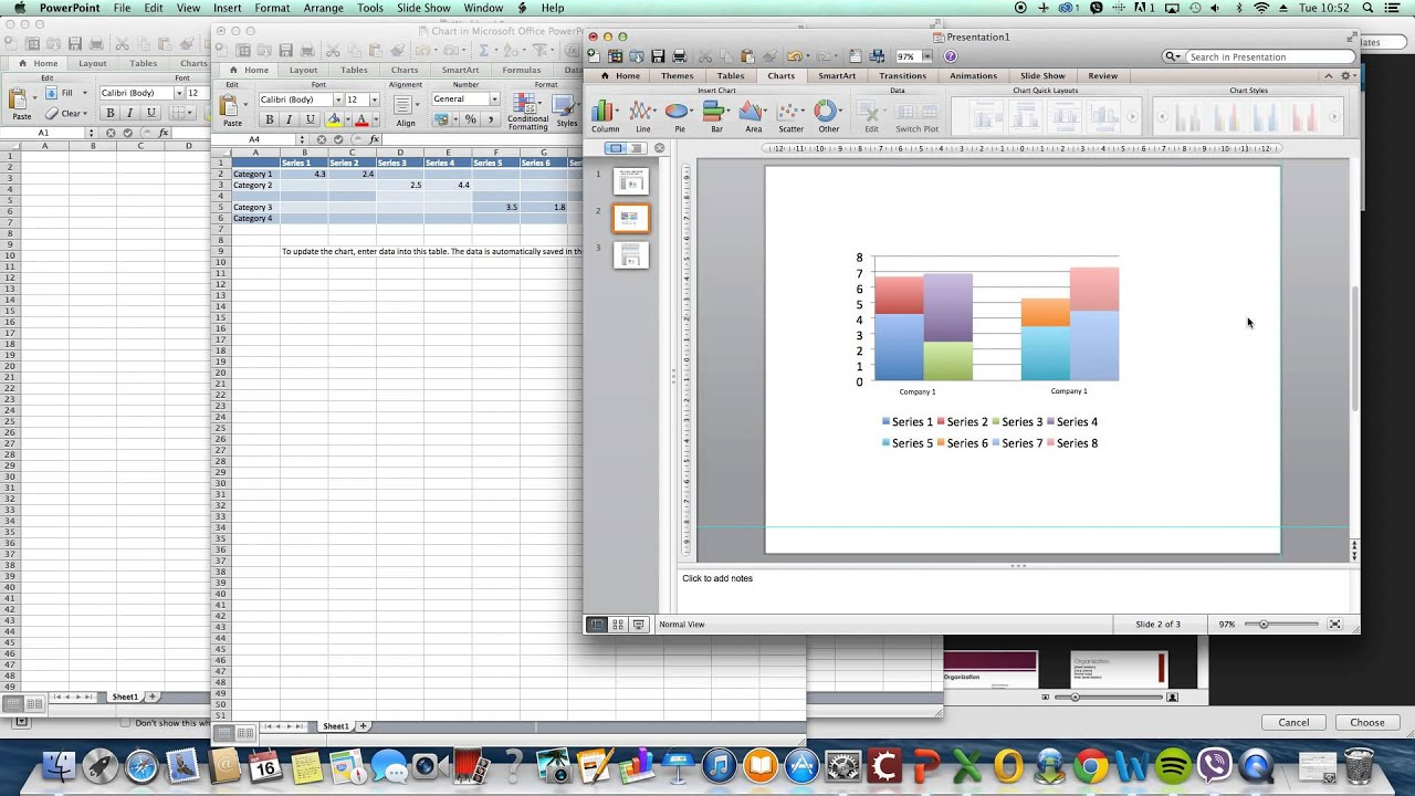 Powerpoint excel creating a stacked clustered columnbar chart powerpoint excel creating a stacked clustered columnbar chart youtube ccuart Choice Image