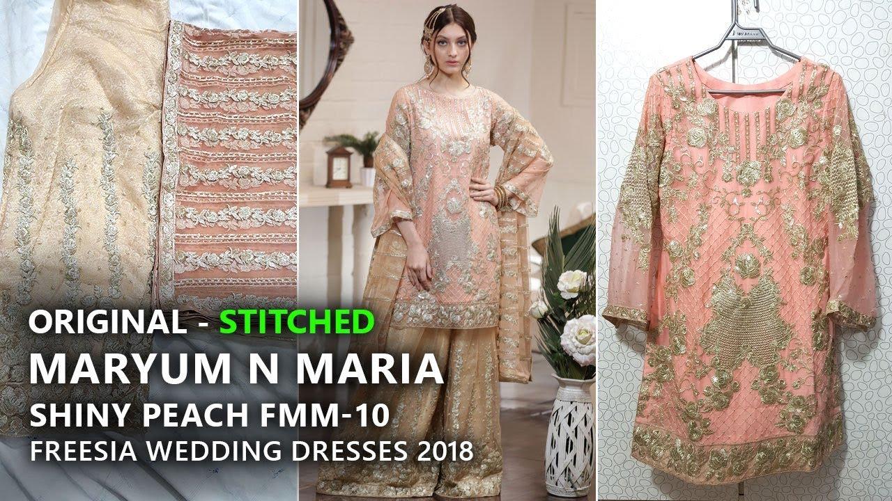 ecc9c2c01a Maryum N Maria Luxury Chiffon Freesia V1 - Stitched Shiny Peach Fmm 10 -  Pakistani Branded Clothes